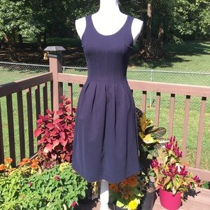 J Crew Navy Pleated Fit & Flare Dress